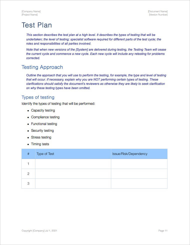 Software Test Plan Template User Acceptance Test Plan Pages Gains