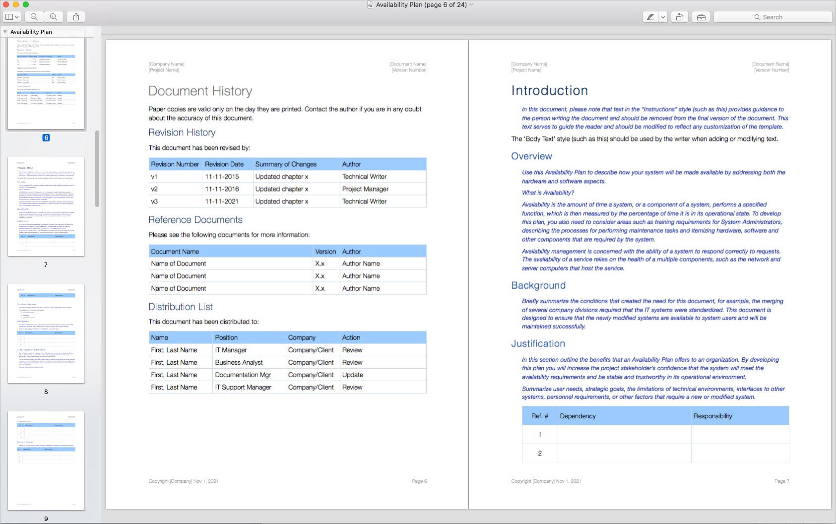 Availability_Plan_Template_Apple_iWork_Pages_Document_History