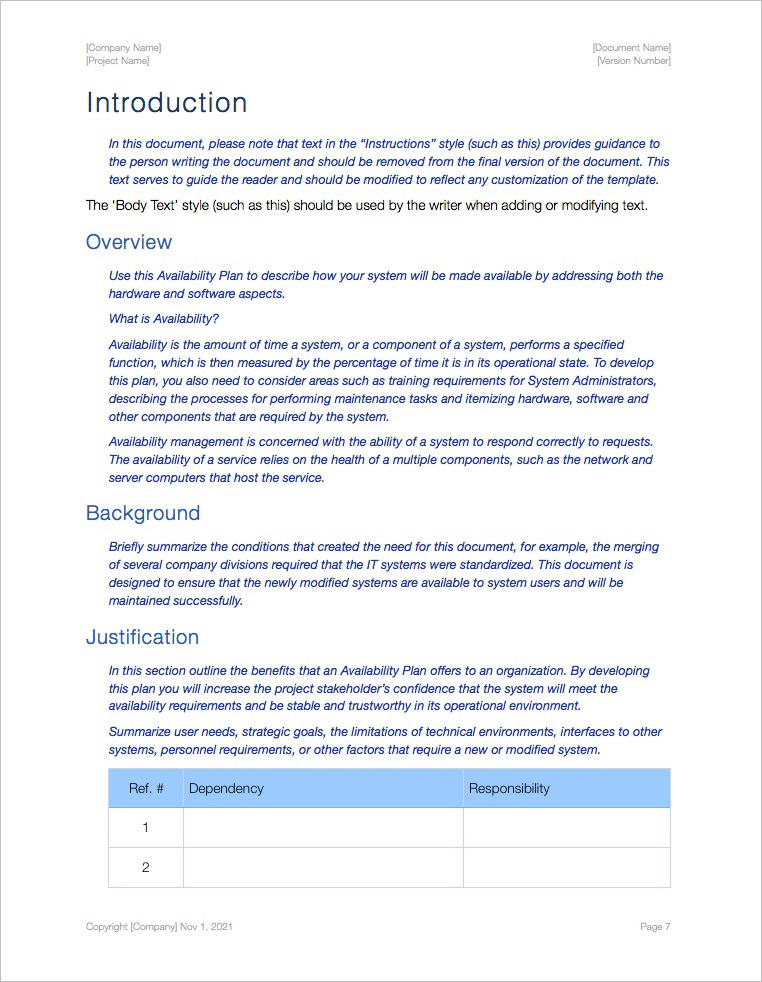 Availability Plan Template Apple Iwork Pages