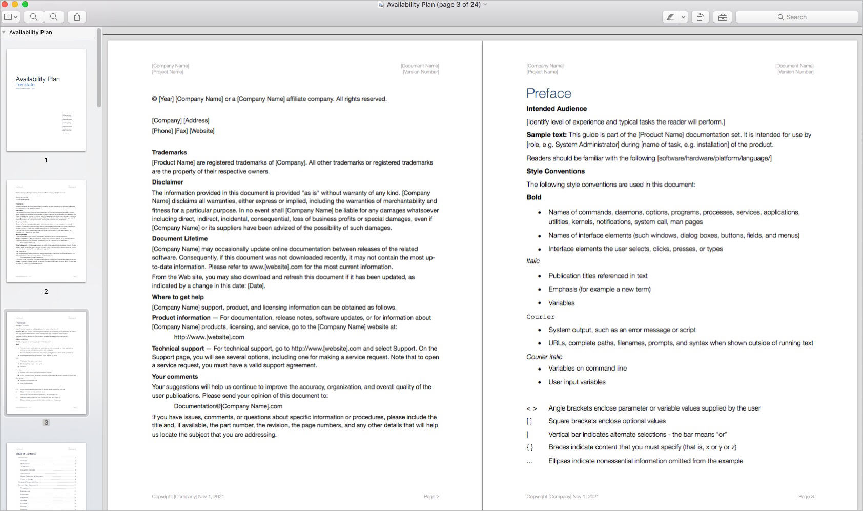 Availability_Plan_Template_Apple_iWork_Pages_Preface