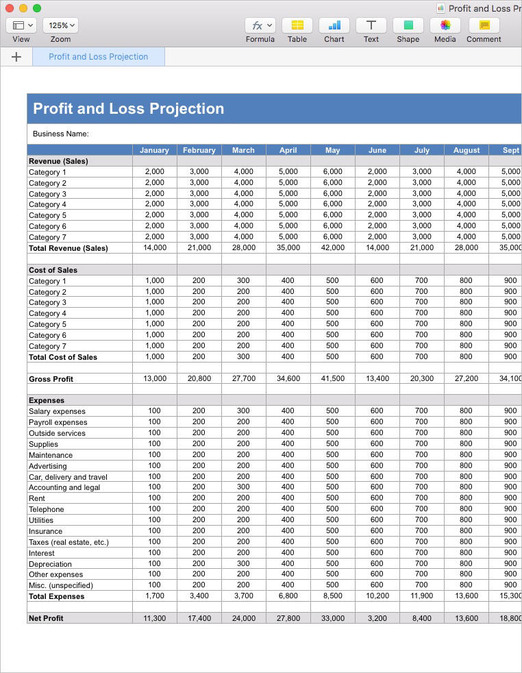 Business_Plan_Market_Research_Apple_Numbers_Template  Business_Plan_Profit_and_Loss_Projection_Apple_Numbers_Template  Profit And Loss Projection Template