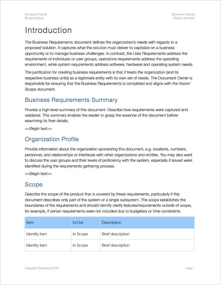 Business Requirements Template Apple IWork PagesNumbers - How to write business requirements document