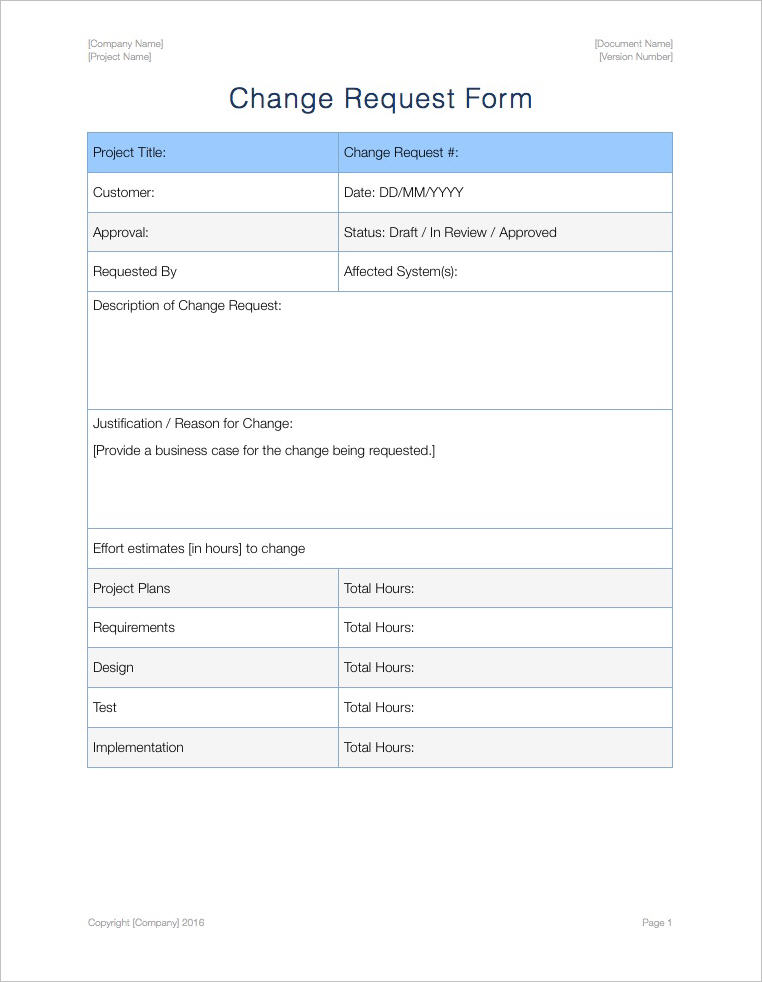 Change Management Plan Template Apple Iwork Pages