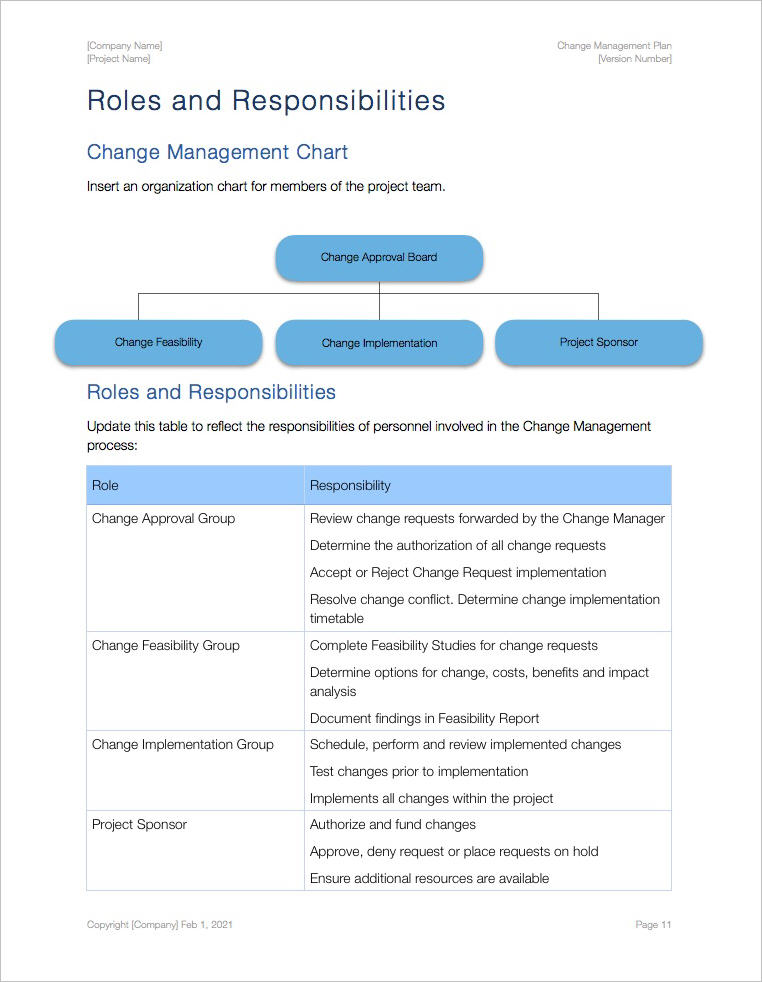 Change Management Plan Template Apple Iwork