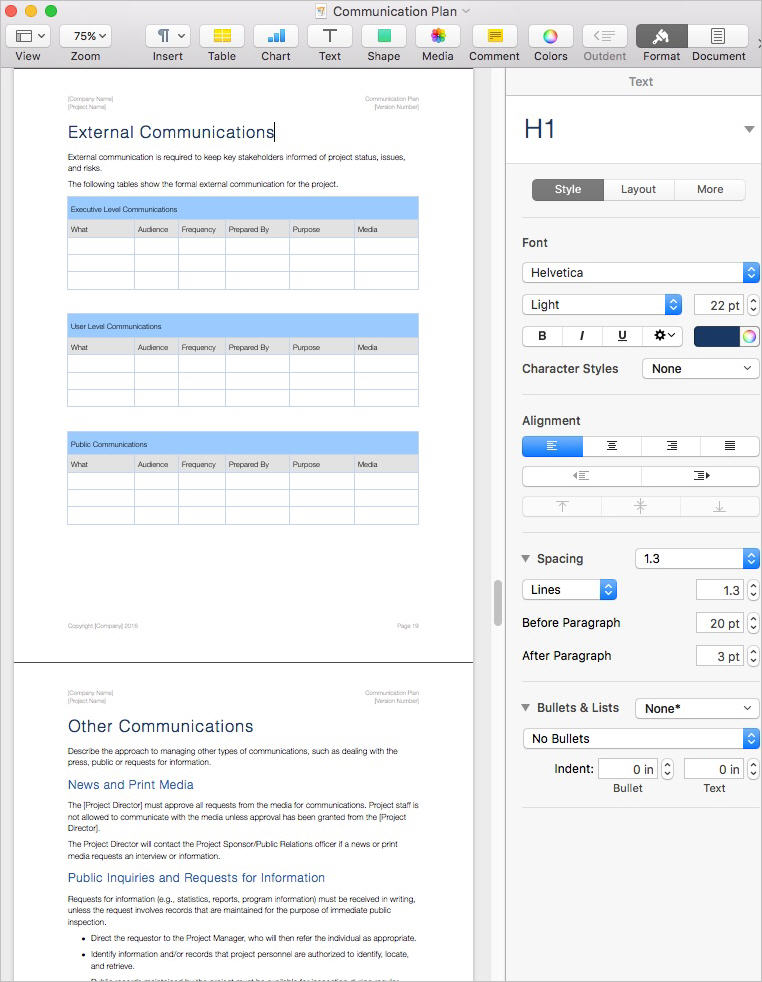 Communication_Plan_Template_Apple_iWork_Pages_Inspector