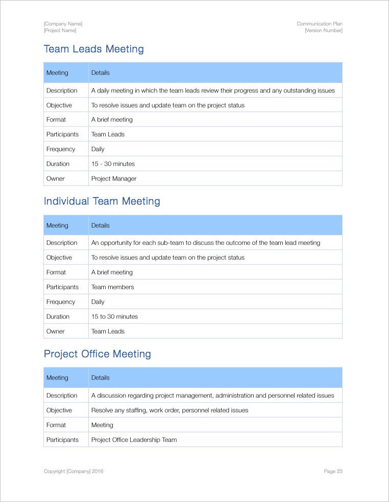 Communication Plan Template (Apple Iwork Pages/Numbers)