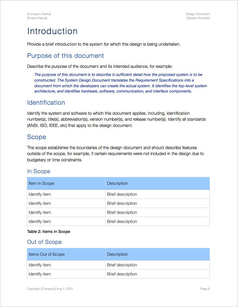 Design Document Template (Apple iWork Pages) - Templates ...
