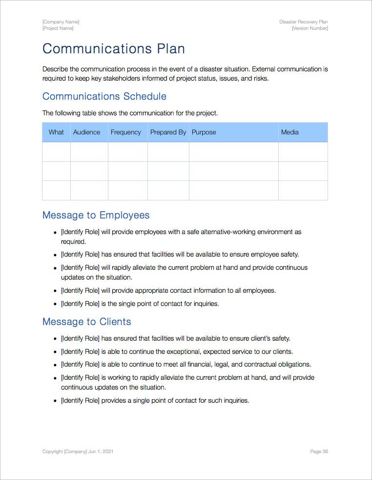 Disaster Recovery Plan Template Apple iWork Pages – Disaster Recovery Plan Template