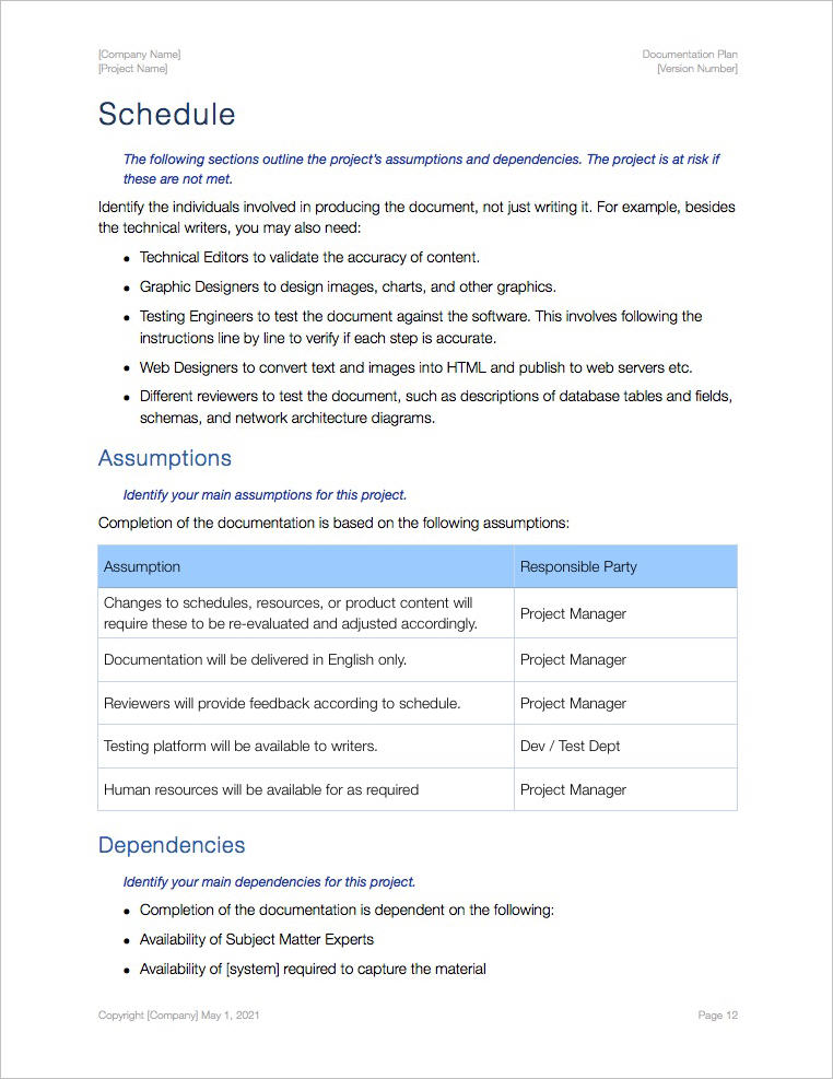 Documentation Plan Template Apple Iwork Pages And Numbers