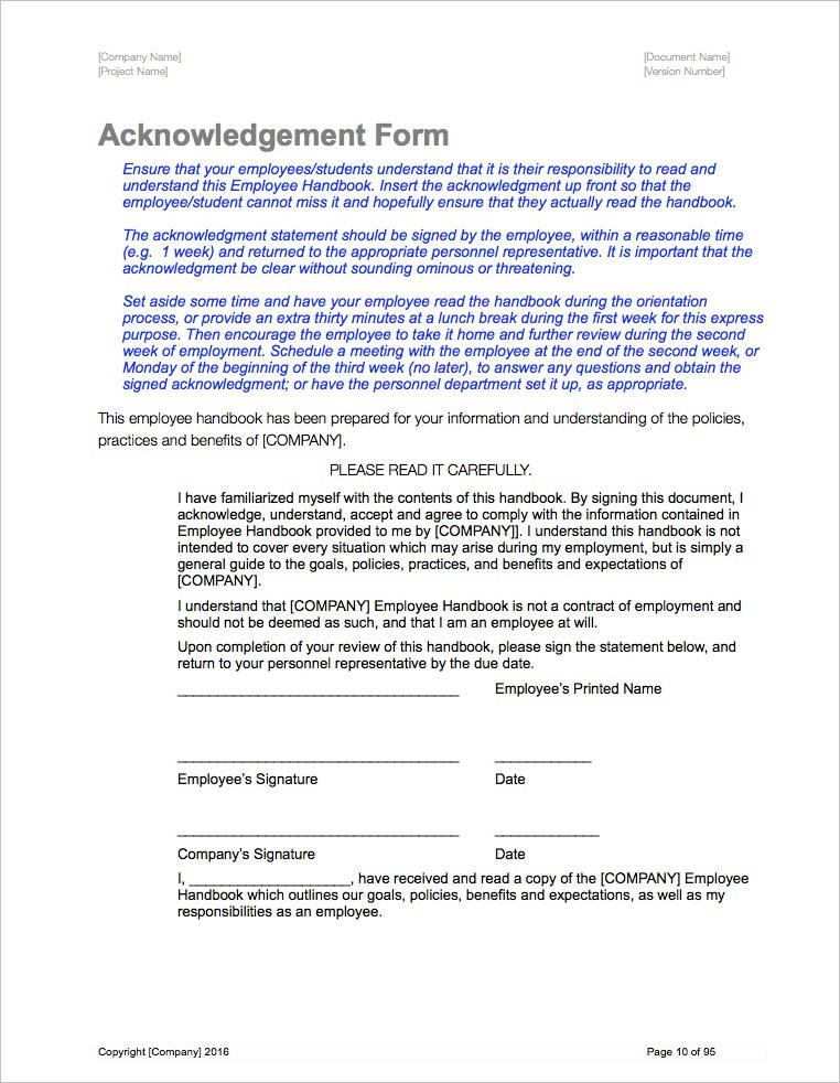employee_handbook_templates apple iwork pages numbers acknowledge form
