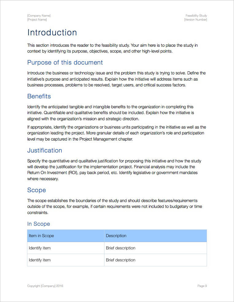 Feasibility Study Template Apple Iwork Pages
