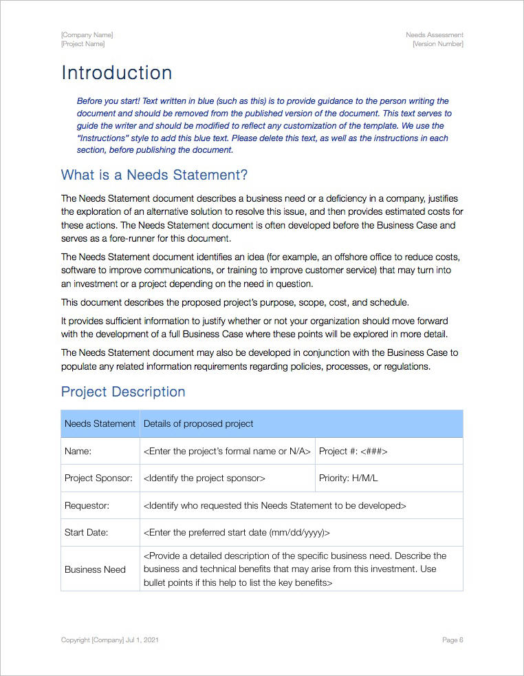 Needs Assessment Template (Apple Iwork Pages)