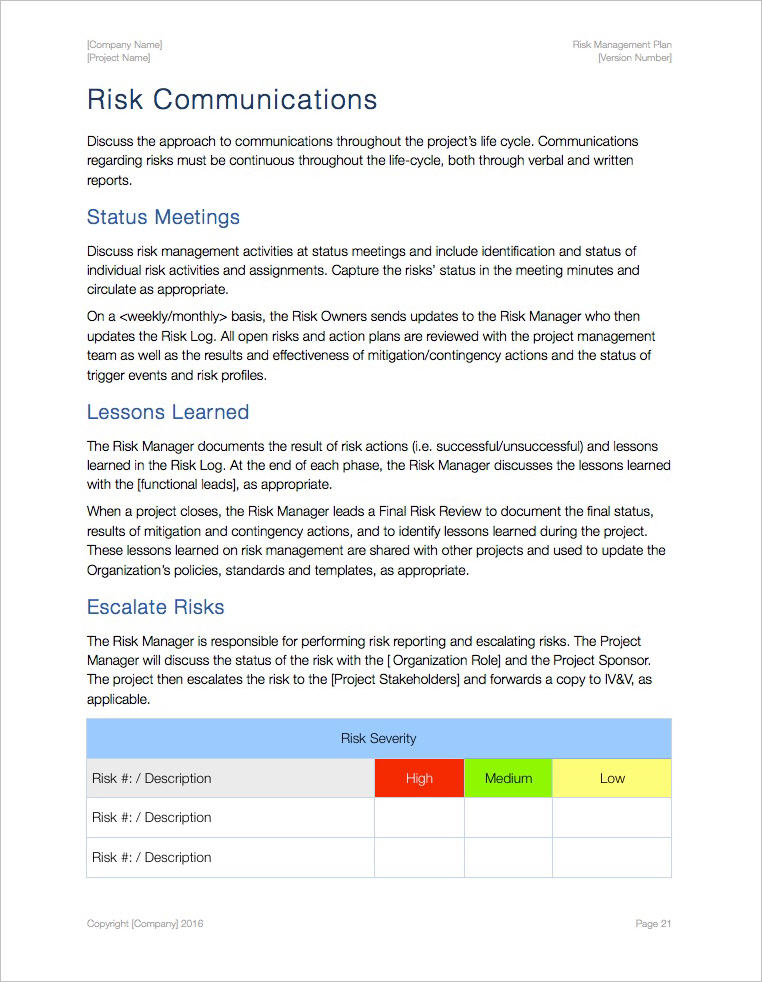 Risk Management Plan Template Apple iWork PagesNumbers spreadsheets – Meeting Minutes Template Pages
