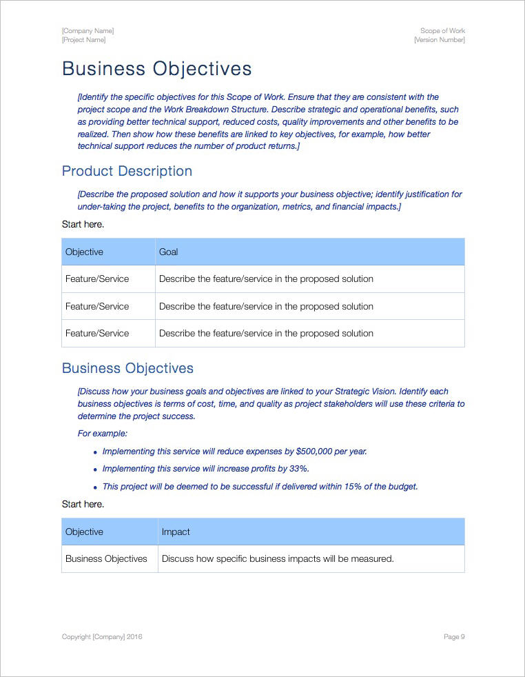 Scope Of Work Template (Apple Iwork Pages)