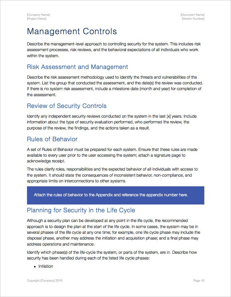 Security Plan Template (Apple Iwork Pages/Numbers)
