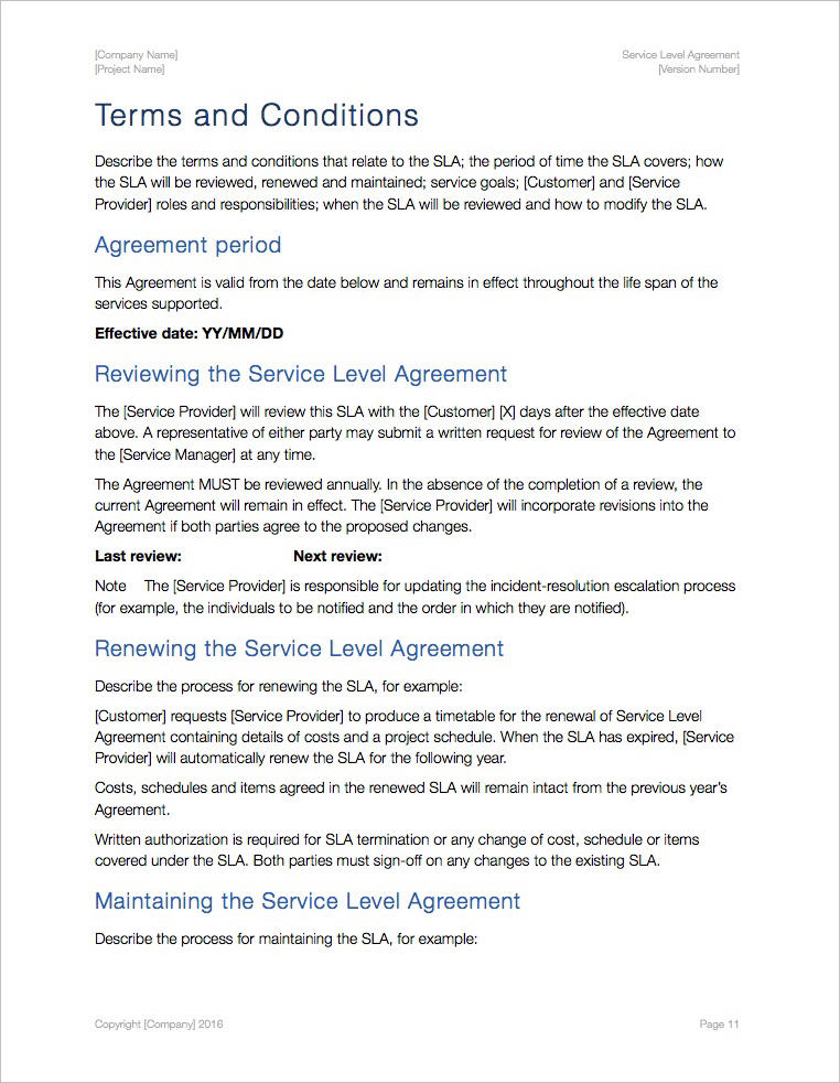 Service Level Agreement Template Apple Iwork PagesNumbers