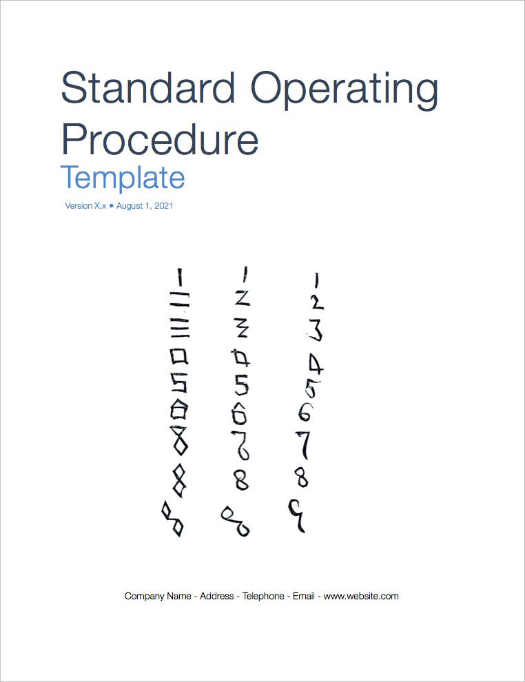 Standard Operating Procedure Templates (Apple Iwork Pages/Numbers)