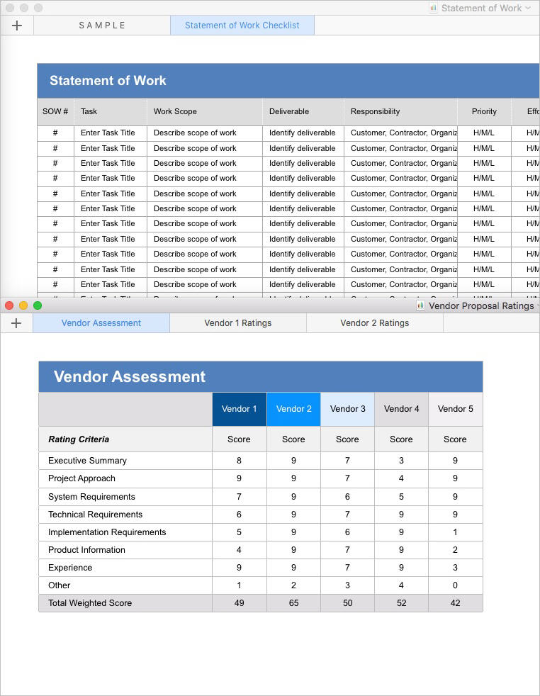 Statement-of-Work-Templates-Apple-iWork-Numbers-Vendor-Assessment