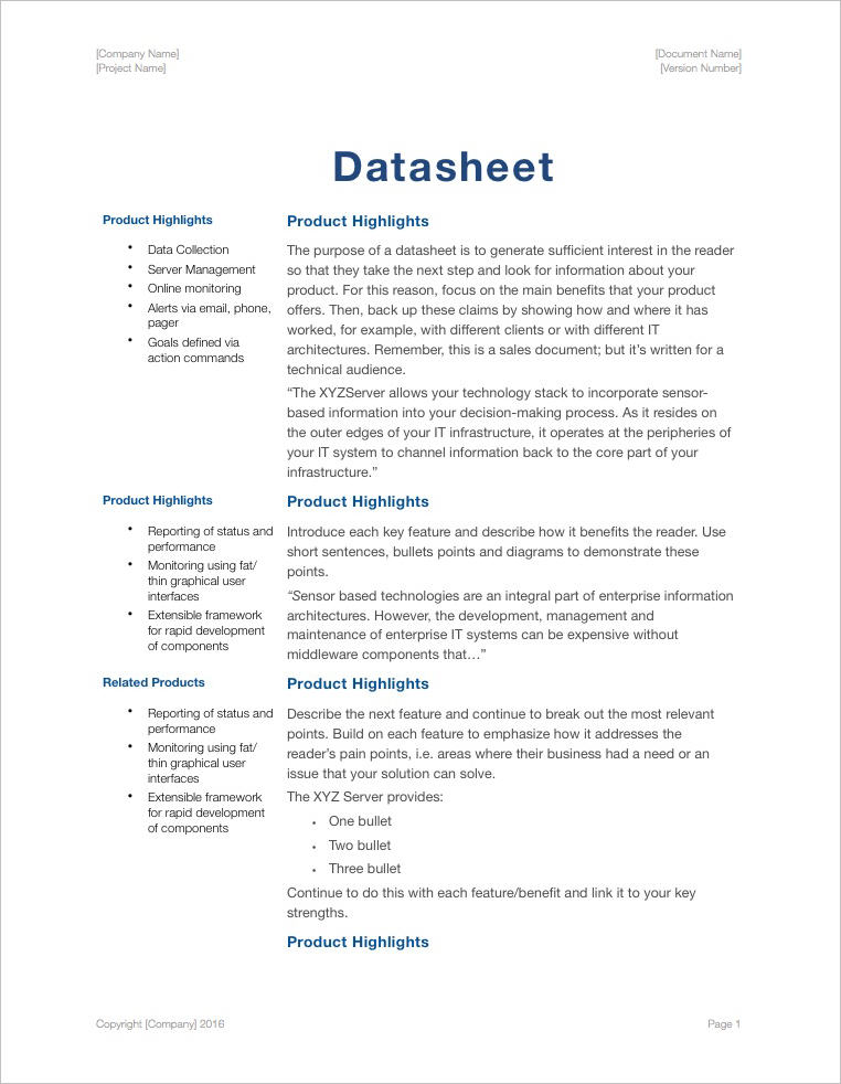 Technical-Writing-Templates-Apple-Pages-Numbers-Datasheet