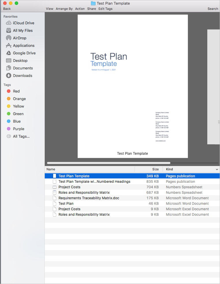 Test Plan Template (Ms Word/Excel)