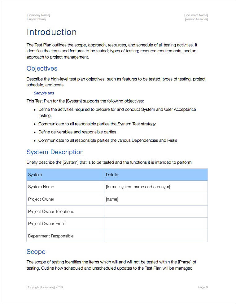 Test Plan Template Apple Iwork Pages And Numbers
