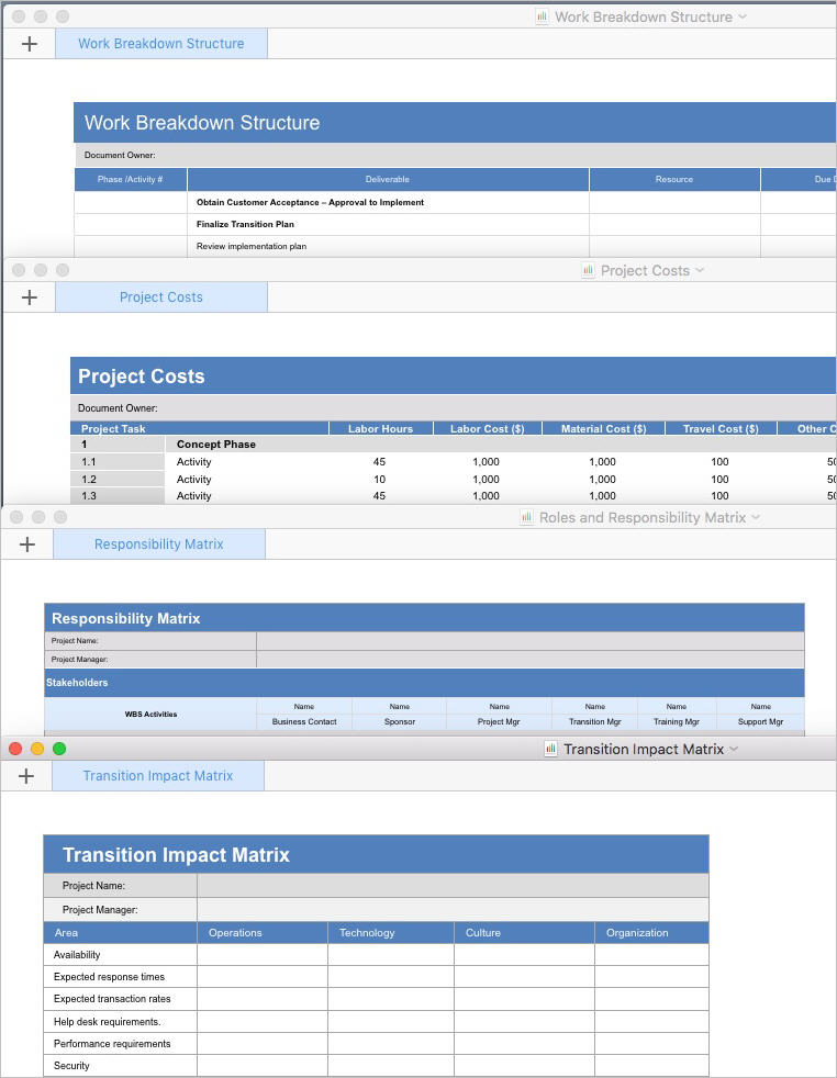Transition Plan Template Apple Iwork Pages And Numbers