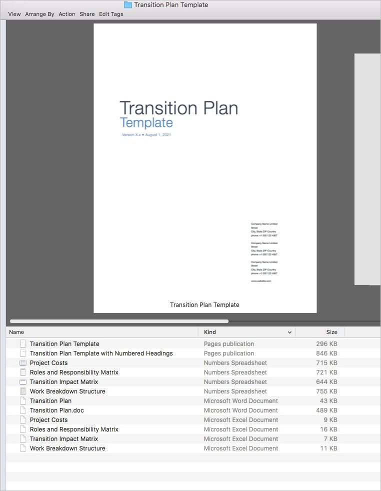 Transition Plan Apple Iwork PagesNumbers